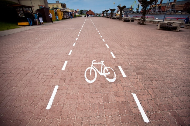 Bicycle sign lane in the city. cycling way