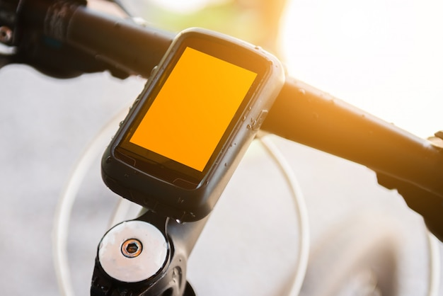 Bicycle speedometer computer setting on bicycle
