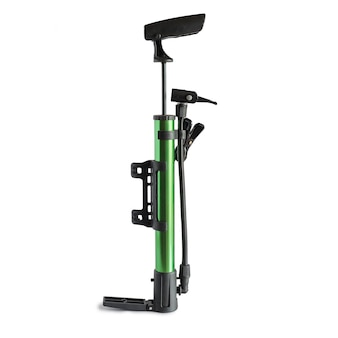 Bicycle tire pump manual air pump against white background.