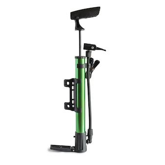 자전거 타이어 펌프 흰색 배경에 대해 수동 공기 펌프.
