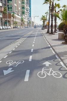 イスラエル、テルアビブの通り沿いの自転車道