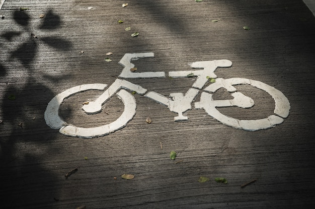 The bicycle way sign on the concrete floor
