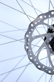 Bicycle wheel axle close-up