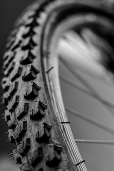 自転車の車輪は、クローズアップ
