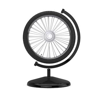 白い背景の上の地球儀の形をした自転車の車輪。 3dレンダリング