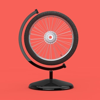 Bicycle wheel in the shape of earth globe on a pink background. 3d rendering