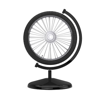 Bicycle wheel in the shape of earth globe on a white background. 3d rendering