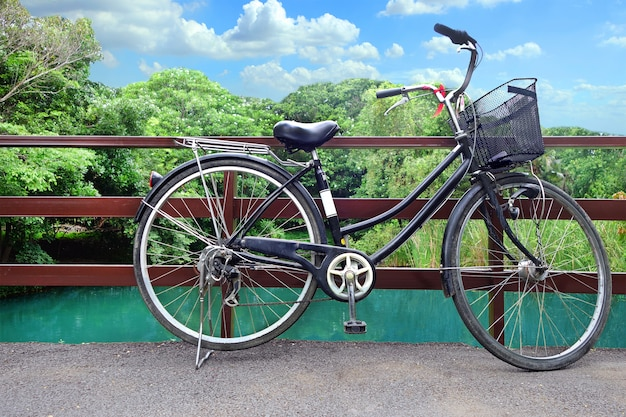 A bicycle wheel with beautiful nature background