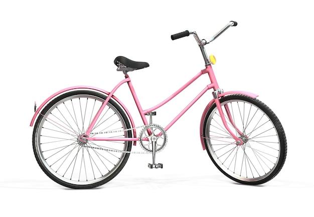 Bicycle on white. retro bike. 3d rendering
