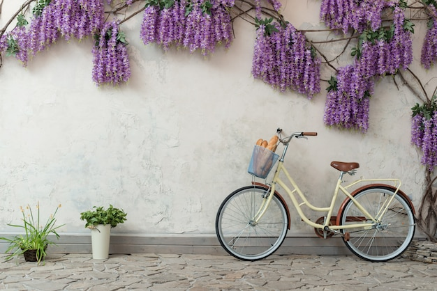 Bicycle with a basket with a bread leaned on the grey background with a purple flowers.- image