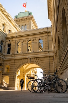 Bicycles at the helvetian confederation in bern with a sunny day