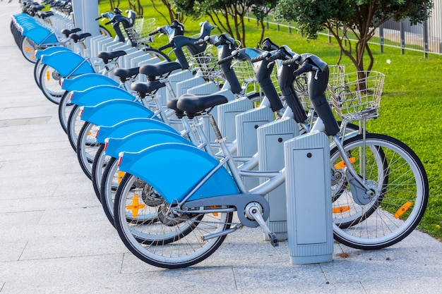 Bicycles for rent in public park (santander cantabria - spain)
