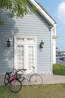 Bicycles and wooden home