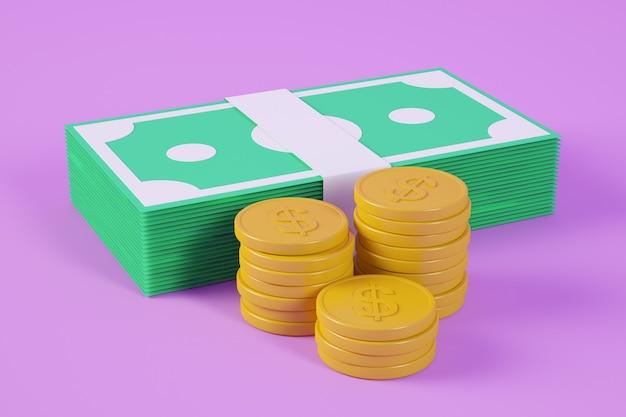 Ставки и монеты на фиолетовом фоне