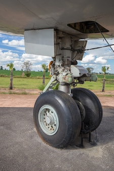 Big airplane wheels and landing gear