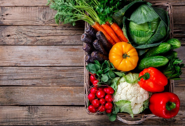 Big basket with different fresh farm vegetables