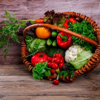 Big basket with different fresh farm vegetables.