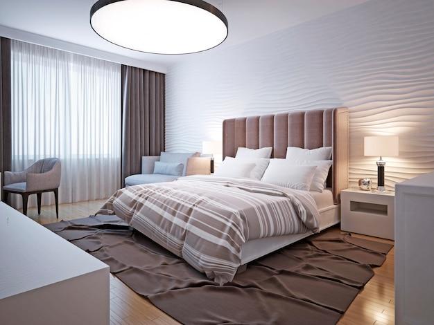 大きなベッドルームのモダンなスタイル。