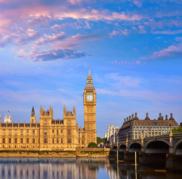 Big ben clock tower and thames river london