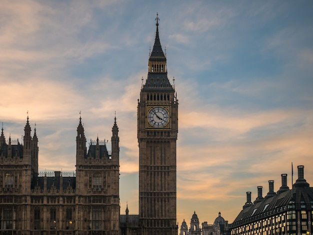 Big ben in london from thames river.