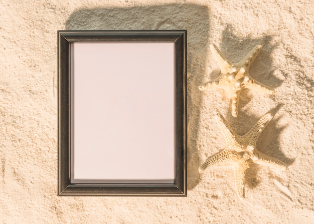 Big black picture frame with starfishes