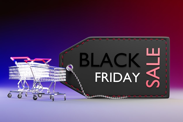 A big black price tag and small shopping cart on dark background. closeup and copy space on the right. 3d rendering illustration.