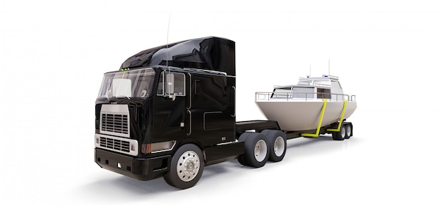 A big black truck with a trailer for transporting a boat on a white background