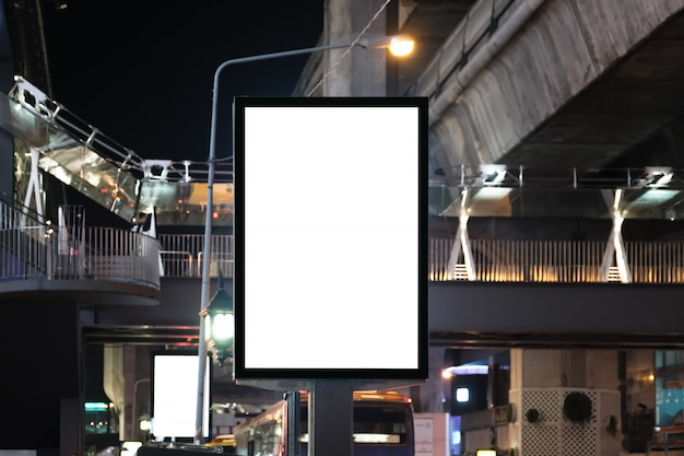 Big blank billboard white led screen vertical outstanding in the city.