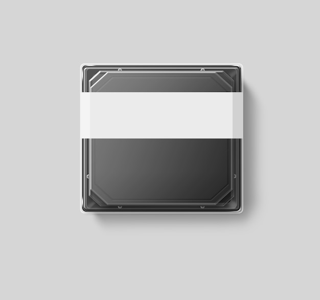Big blank plastic disposable food container  transparent lid, isolated, clipping path, 3d illustration. sushi empty to go bento delivery box. meal lunch take away clear tray .