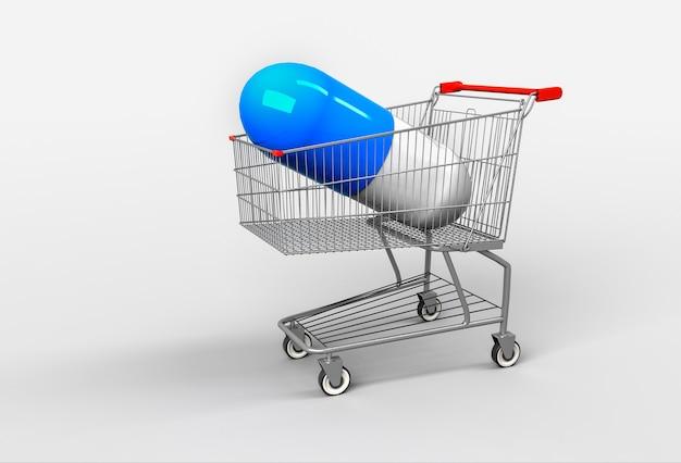 ショッピングカートに薬が横たわっている大きな青いカプセル。薬を買うという概念。 3dレンダリング