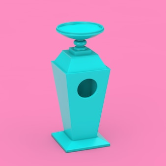Big blue industrial hotel smoking area outdoor ashtray with sand mockup in duotone style on a pink background. 3d rendering