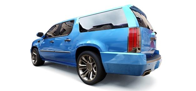 흰색 바탕에 큰 파란색 프리미엄 suv입니다. 3d 렌더링.