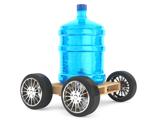 Big bottle of drinking waterwith wheels on a white background