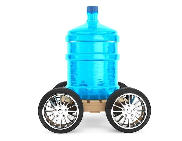 Большая бутылка питьевой воды с колесами на белом фоне