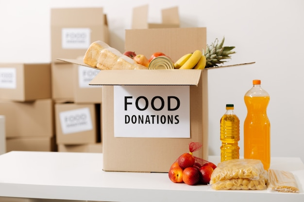 Big boxes for food donation standing store in a warehouse