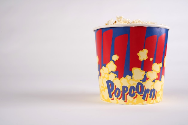 Big bucket of popcorn. isolated on a white.