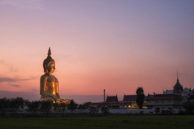 Big buddha in the morning purple sky