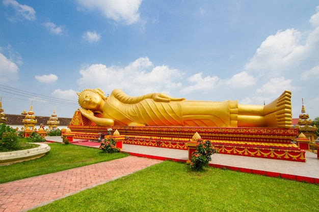 Big buddha statue at wat pha that luang in vientiane, laos