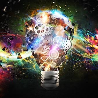 기어 메커니즘과 조명 효과가있는 큰 전구 조명. 큰 창의적인 사업 아이디어의 개념