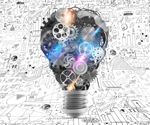 メカニズムとギアを備えた大きな電球ライト。大きな創造的なビジネスアイデアの概念