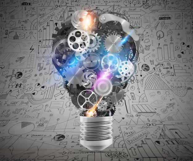 메커니즘과 기어가있는 큰 전구. 큰 창의적인 사업 아이디어의 개념