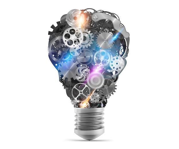 メカニズムとギアを備えた大きな電球ライト。