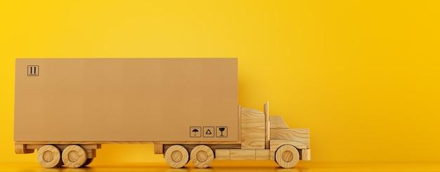 黄色の背景で配達する準備ができている木のおもちゃのトラックの大きな段ボール箱のパッケージ