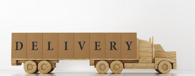 白い背景で配信する準備ができて木のおもちゃのトラックに大きな段ボール箱のパッケージ