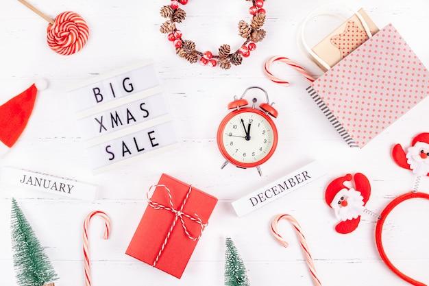Big christmas sale text lightbox white surface
