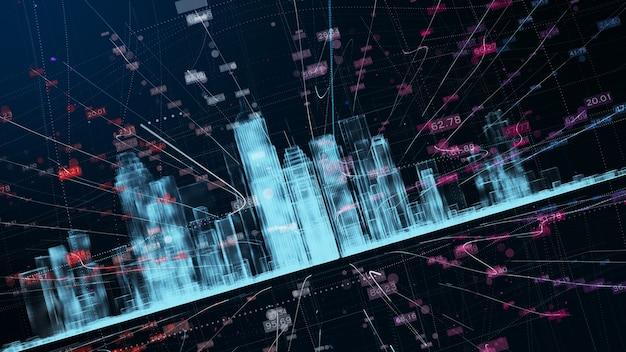빅 시티 데이터 디지털 미래 네트워크 연결. 3d 렌더링 기술 개념.
