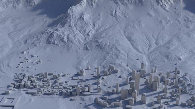 Вид сверху на большой город в горах. иллюстрация в повседневном графическом дизайне. фрагменты нью-йорк