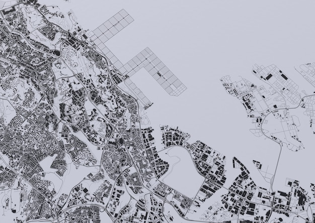 Big city top view. illustration in casual graphic design. fragment of singapore