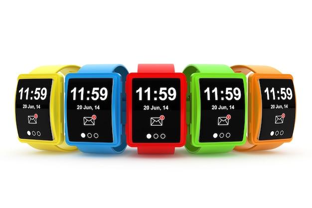 흰색 바탕에 큰 개념적 여러 가지 빛깔의 스마트 시계