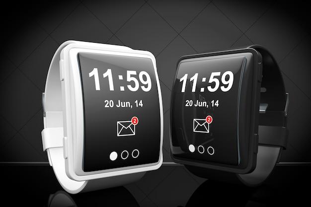 검은 배경에 큰 개념적 스마트 시계
